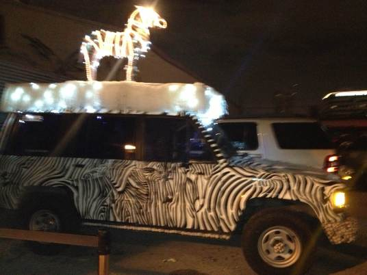 holiday zebra car